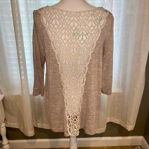 Crochet Back Sweater Blouse